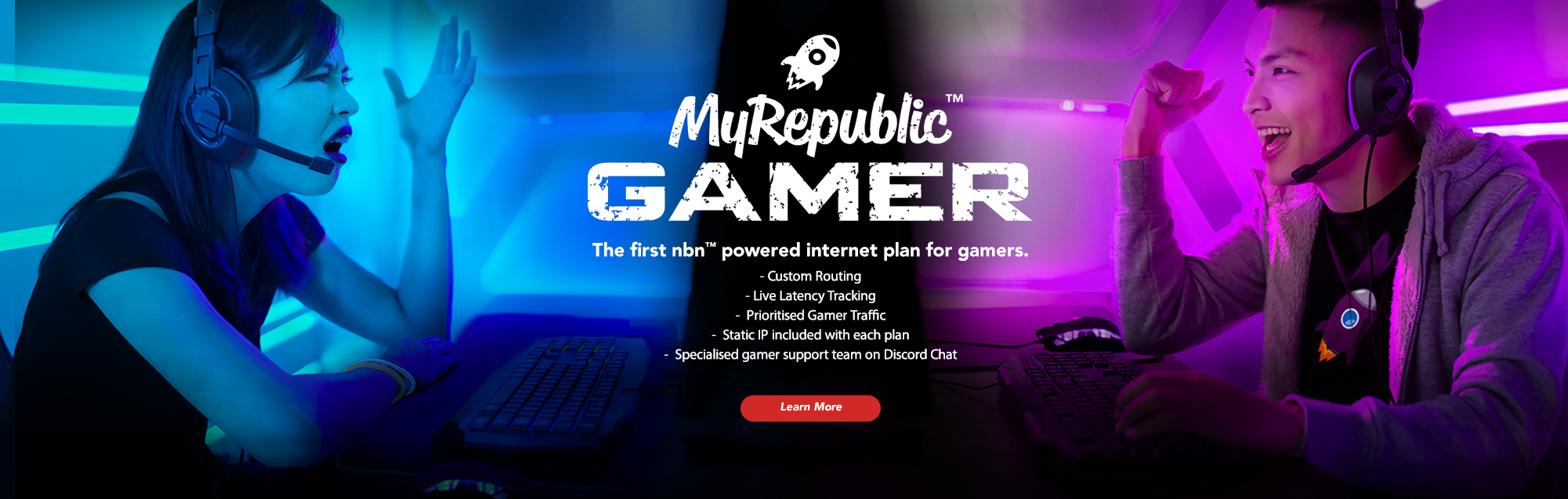 MyRepublic Gamer Banner Blue vs Pink