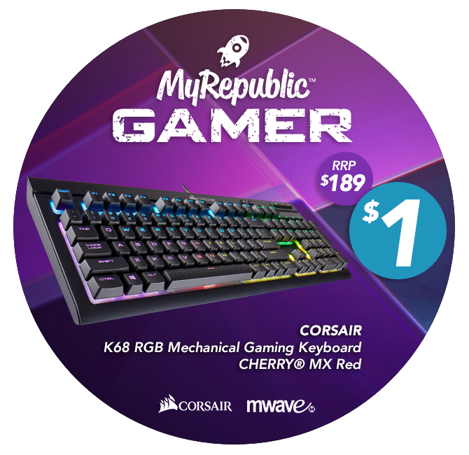 MyRepublic Australia Gamer K68 RGB Mechnical Gaming Keyboard Cherry MX Red $1 Offer